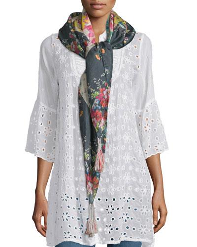 Tropical Floral-Print Silk Scarf