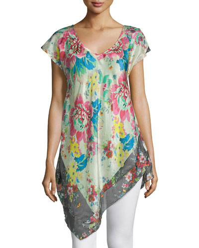 Tropical Flower Short-Sleeve Tunic, Plus Size