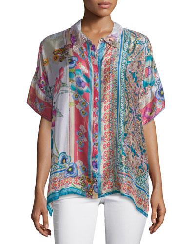 Ajamite Printed Silk Button-Front Blouse, Plus Size