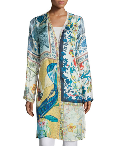 Sunday Printed Button-Front Long Cardigan, Plus Size