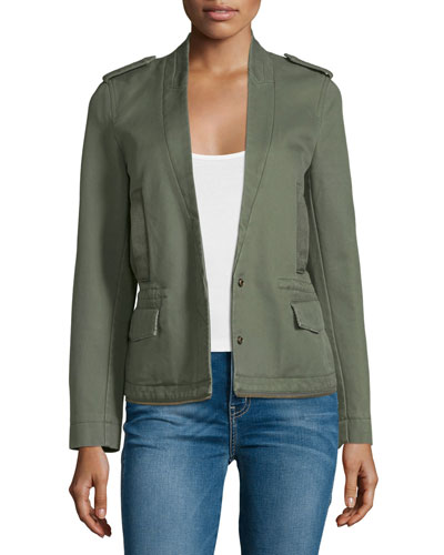 Cotton Twill Snap-Front Jacket, Khaki