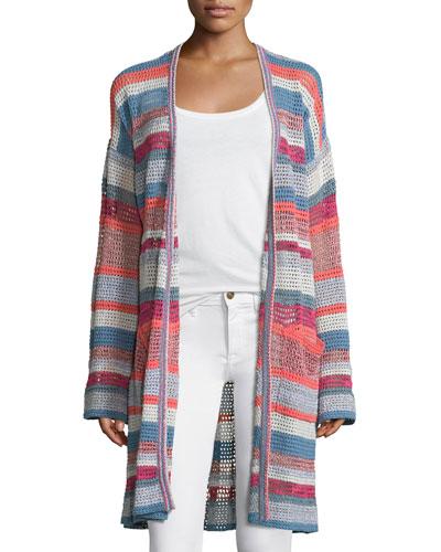 Celia Ho Striped Mesh Sweater, Rose/Multicolor