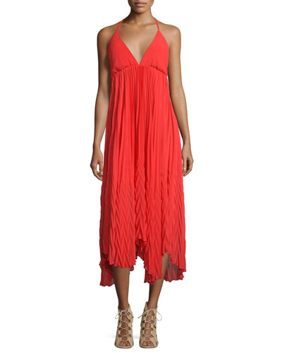 Adalyn Chiffon Halter Midi Dress, Red