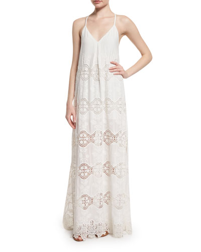 Raine Lace-Trim Maxi Dress, White