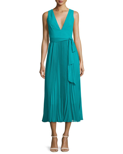 Ryn Pleated Chiffon V-Neck Midi Dress, Turquoise