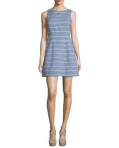 Lindsey Structured Striped Dress, Blue