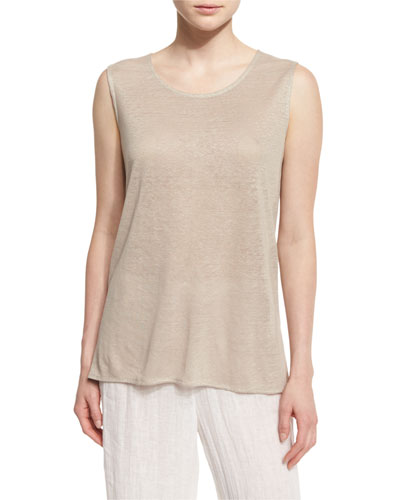 Scoop-Neck Long Linen Tank, Natural, Petite