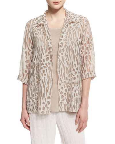 3/4-Sleeve Animal-Print Burnout Jacket, Natural, Petite