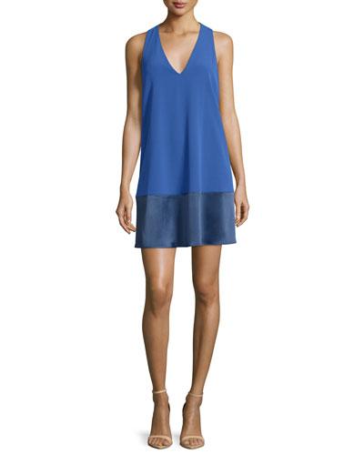 Daralee Paneled Racerback Mini Dress, Blue
