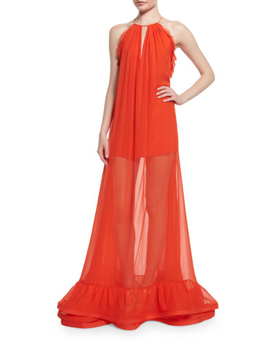 Gracie Sleeveless Long Sheer Maxi Dress, Red-Orange