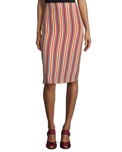 Leoni Silk Striped Midi Skirt, Multicolor