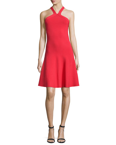 Ribbed Cross-Back Fit-and-Flare Dress, Cherry