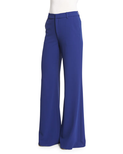 Paula High-Rise Wide-Leg Pants, Blue