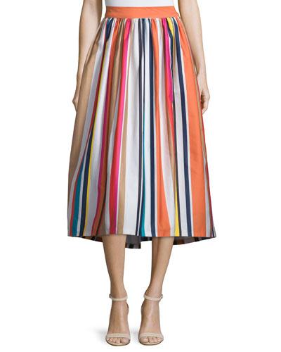 Nikola Striped High-Waist Midi Skirt, Multicolor