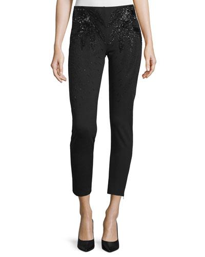 Embellished Cropped Skinny Pants, Black