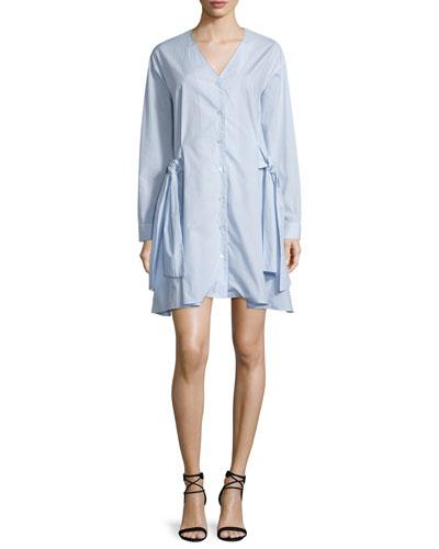 Mirabelle Striped Poplin Menswear Shirting Dress, Sky