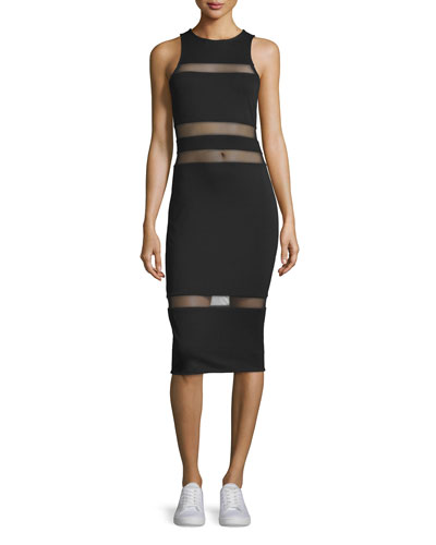Mesh-Trim Lux Ponte Midi Dress, Black