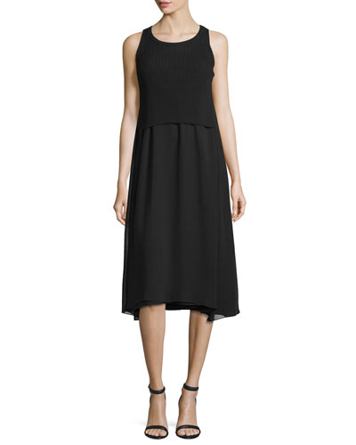 Ribbed Georgette-Trim Tank Dress, Black