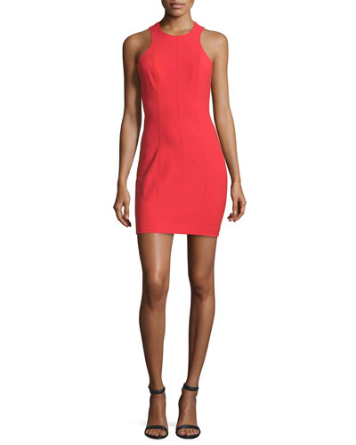 Stretch Suiting Racerback Sheath Dress, Cherry