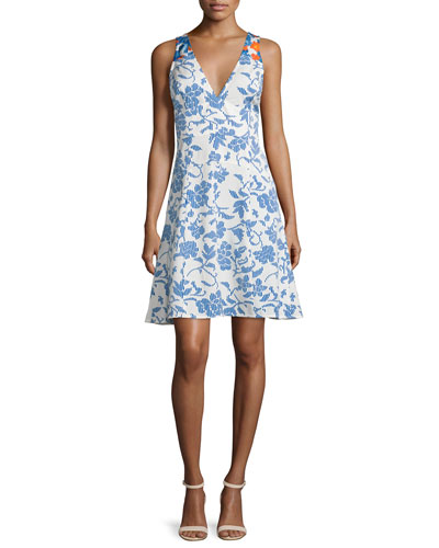 Sleeveless Floral Ribbed A-Line Dress, Blue/White