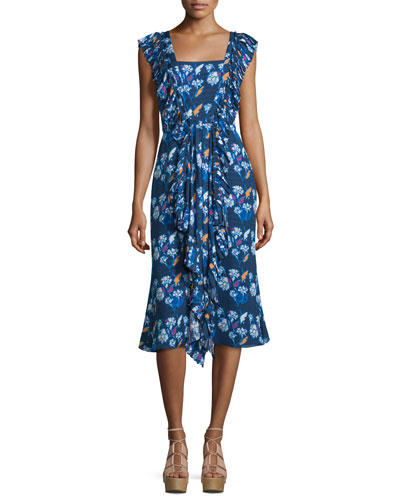 Cleo Ruffle-Trim Floral Silk Dress, Indigo/Multicolor