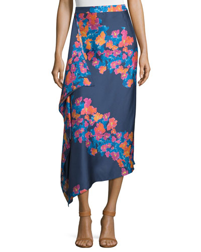 June Silk Twill Diagonal Pop Midi Skirt, Indigo