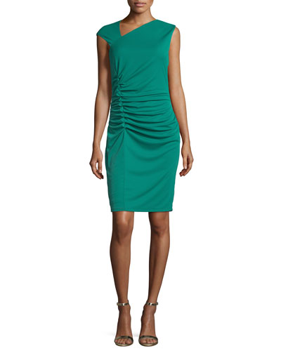 Cap-Sleeve Ruched Cocktail Dress, Emerald