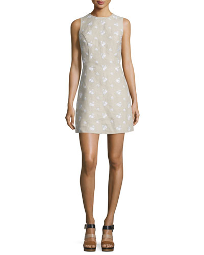 Sleeveless Floral-Embroidered Linen Dress, Natural