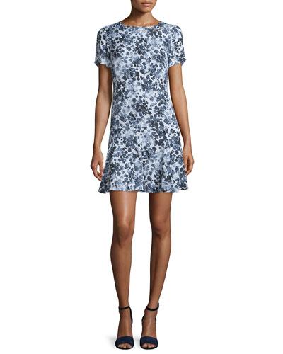 Gemma Floral-Print Silk Flounce Dress
