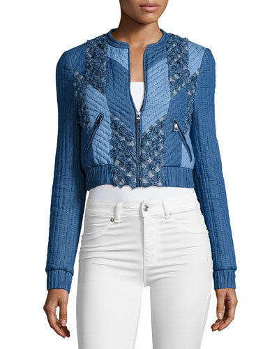 Cropped Chambray-Trim Quilted Patchwork Jacket, Blue