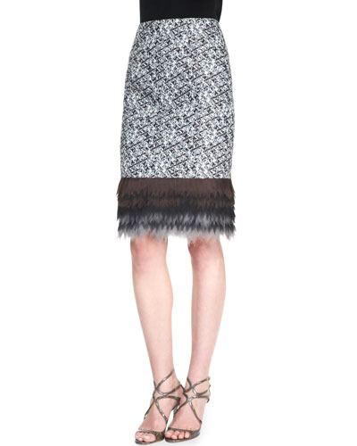 Pixelated Pencil Skirt, Ivory/Black/Copper