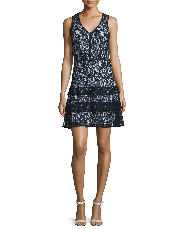 Sleeveless Tiered Lace Dress