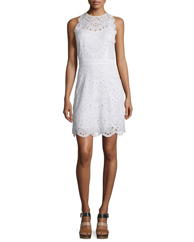 Sleeveless Scallop-Eyelet Dress, White