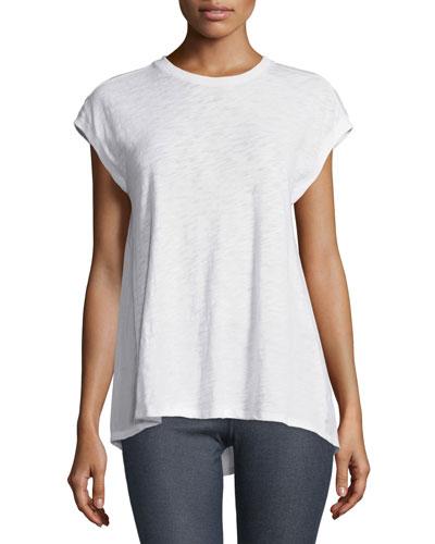 Cap-Sleeve Cotton Combo Tee, White