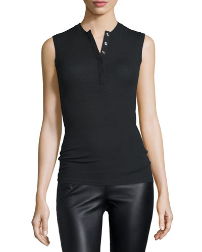 Sleeveless Stretch Henley Tee, Black