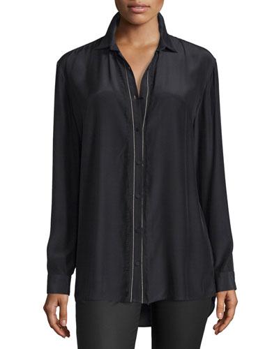 Silk Fringe-Trim Button-Front Shirt, Black