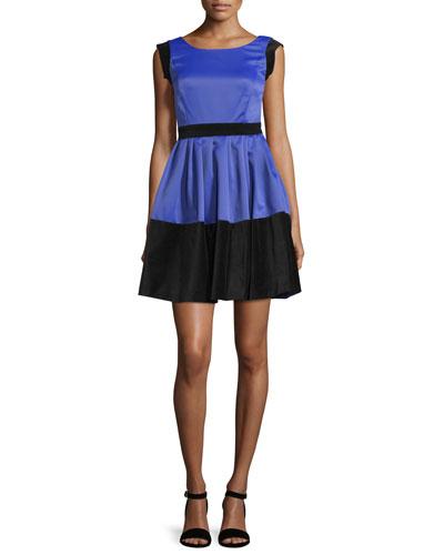 Scoop-Neck Colorblock Dress, Royal Blue/Black