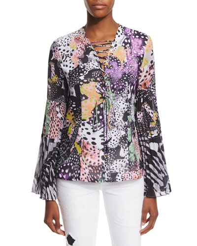 Long-Sleeve Orchid Fish Printed Blouse