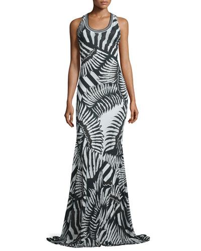Kraken Printed Scoop-Neck Maxi Dress, Black/White