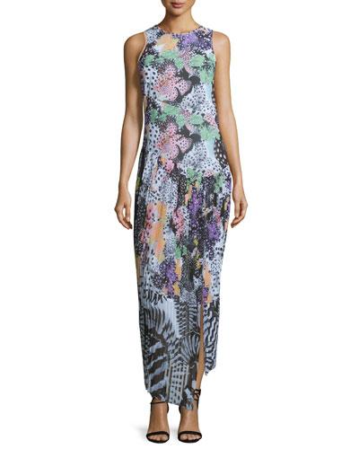 Orchid Asymmetric Fish-Print Maxi Dress, Multi