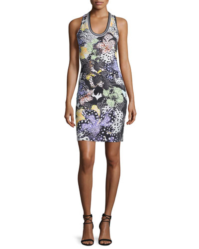 Orchid Sleeveless Fish-Print Dress, Multi