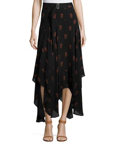 Claudio Silk Dahlia Midi Skirt, Black/Brown
