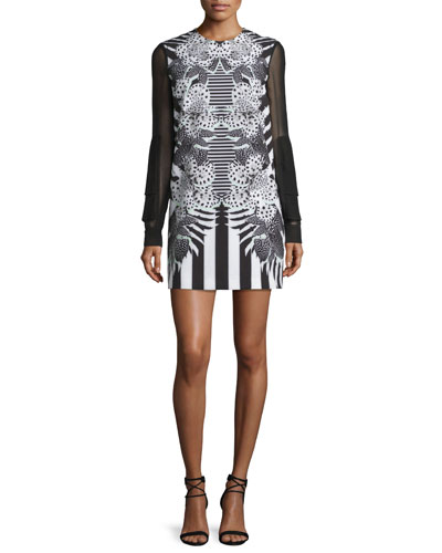 Printed Dress W/Sheer Sleeves, Black/White