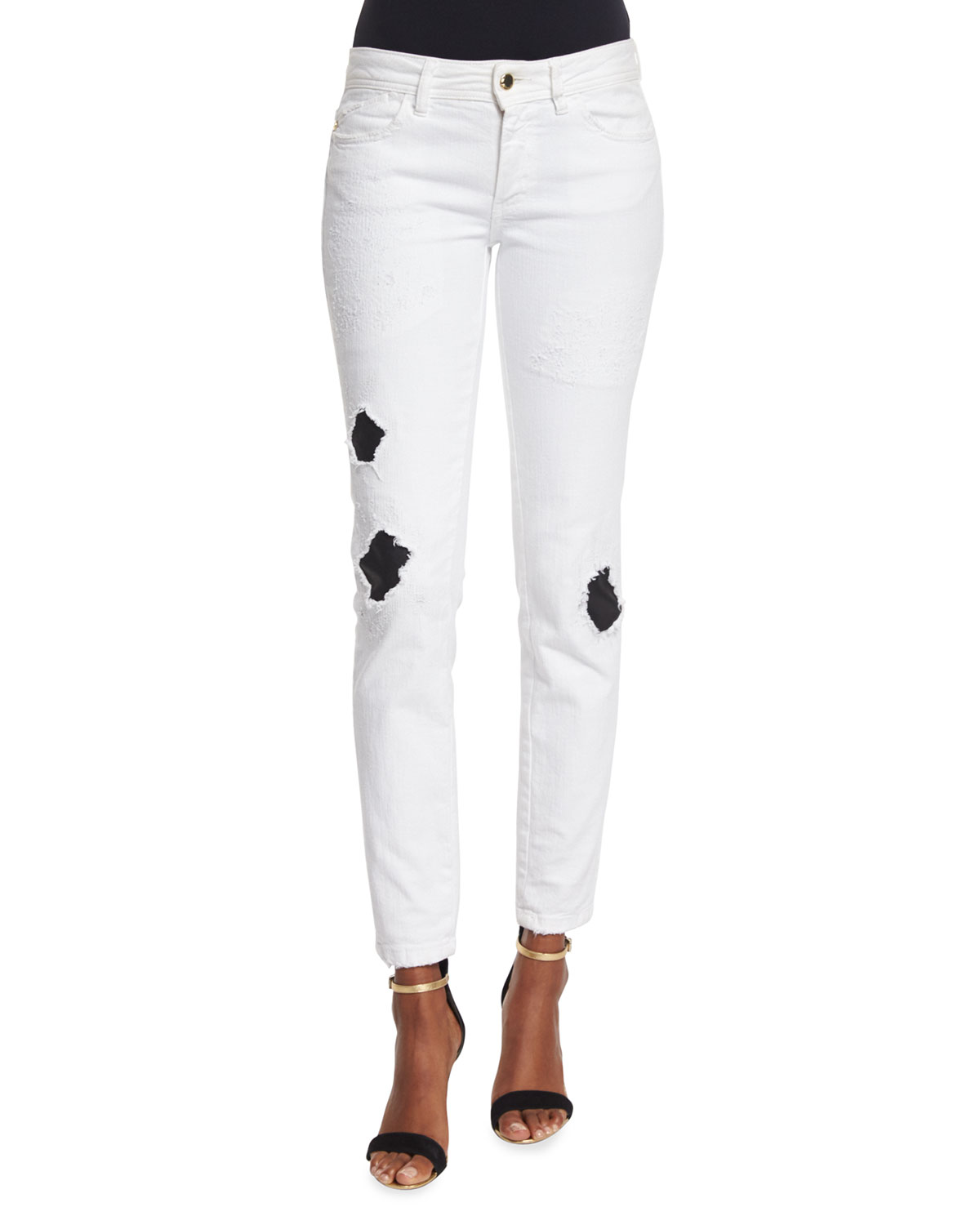 Ripped/Repaired Skinny Jeans, White