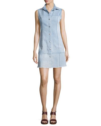 Effie Sleeveless Button-Front Shirtdress, Polished Stone