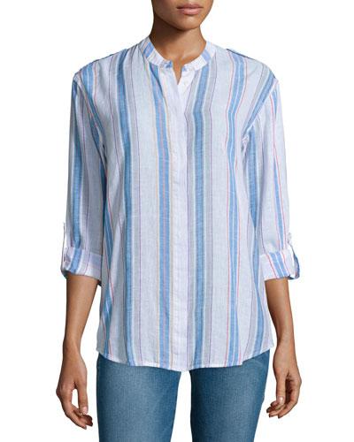 Briar Long-Sleeve Striped Shirt, Versi Linen True