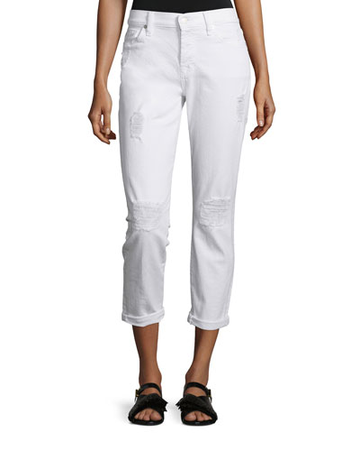 Josefina Destroyed Cropped Jeans, Clean White 3
