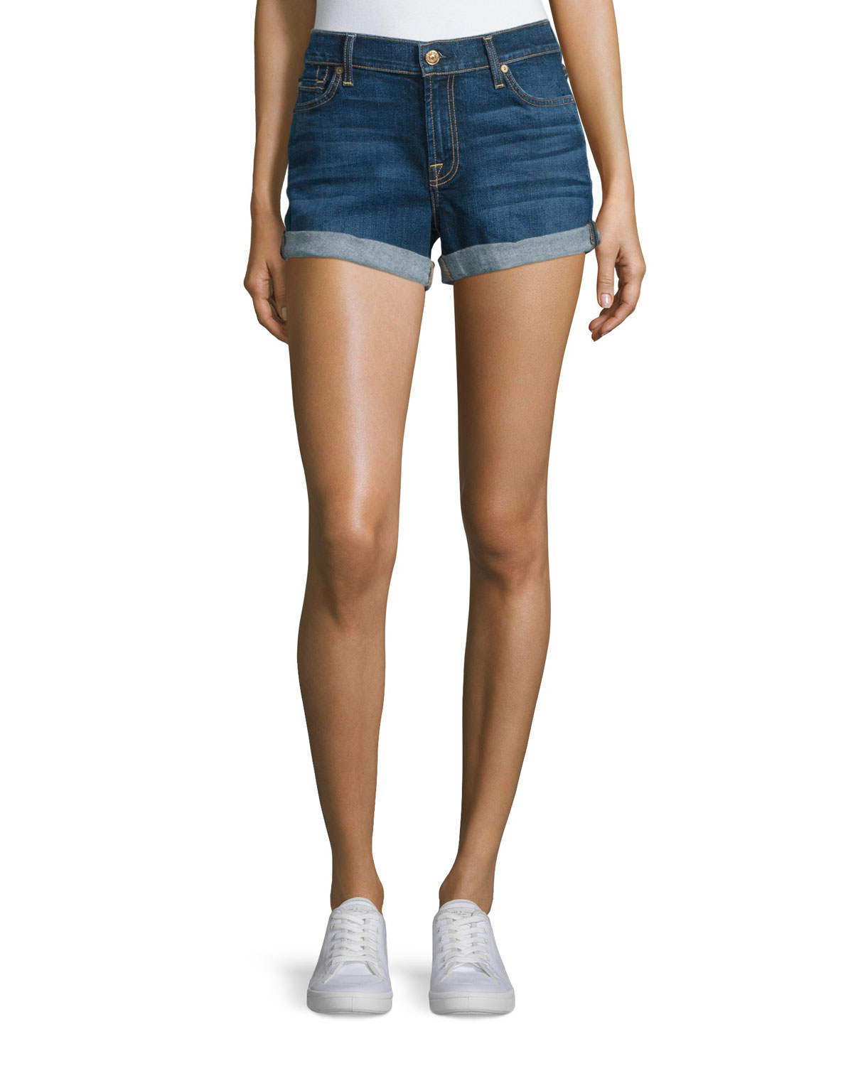 Rolled-Cuff Denim Shorts, Medium Timeless Blue