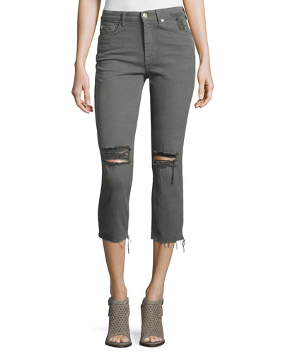 Distressed Cropped Jeans W/Raw Hem, Green