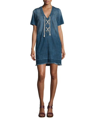 The All-Laced-Up Short-Sleeve Dress, Civilian W/Released Hem